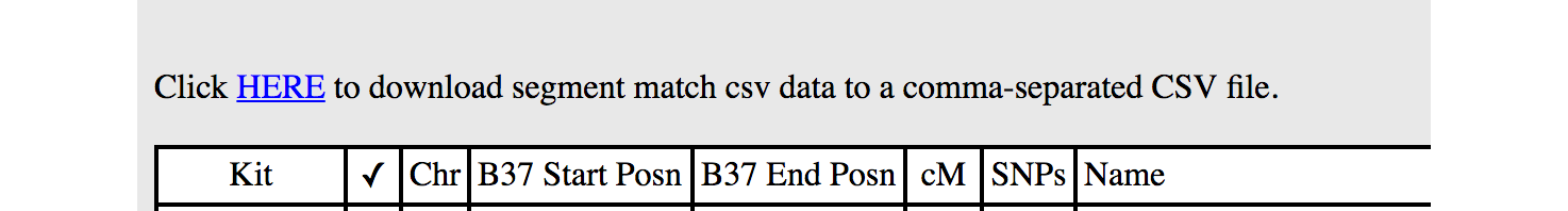 genesis screenshot showing csv download