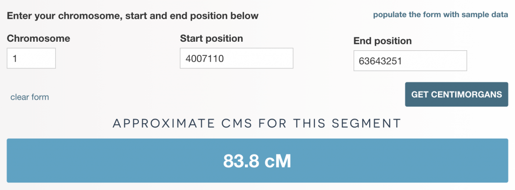 Results screen for cM estimator tool