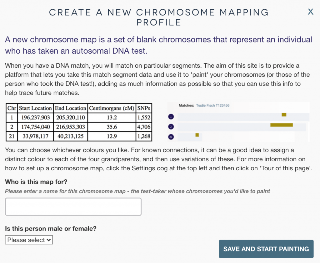 New chromosome map naming overlay form